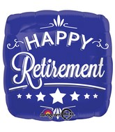 "28"" Happy Retirement Blue Square Balloon"