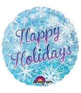 "18"" Holographic Happy Holidays Snowflakes Balloon"