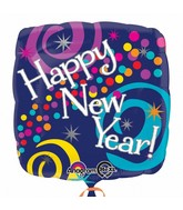 "18"" New Year Bright Swirls Balloon Packaged"