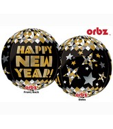 "16"" Orbz New Year Gold Patterns Balloon Packaged"