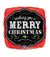 "9"" Airfill Only Merry Christmas Chalkboard Balloon"