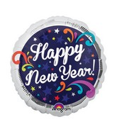 "9"" Airfill Only New Years Swirls Balloon"