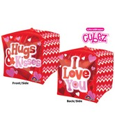 "15"" Cubez Love, Hugs & Kisses Balloon Packaged"