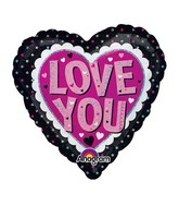 "18"" Holographic Love You Pink & Black Balloon Packaged"