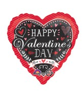 "18"" Happy Valentines Day Chalkboard Balloon Packaged"