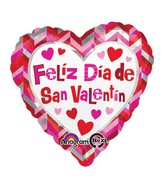"18"" Feliz Dia de San Valentin Chevron Balloon Packaged"