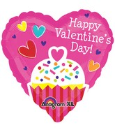 "21"" ColorBlast Happy Valentines Day Cupcake Balloon"