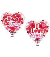 "26"" See-Thru Hugs, Kisses & Love Balloon"