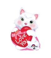 "20"" Junior Shape Kitty with Heart Balloon"