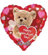 "18"" Happy Valentines Day Bee Bear Balloon Packaged"