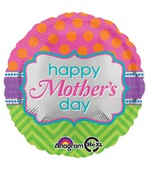 "18"" Happy Mother&#39s Day Dots & Chevron Balloon"