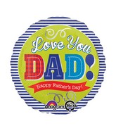 "18"" Dad Blue Stripes Balloon"