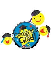 "35"" SuperShape Grad Smiley Faces Balloon"