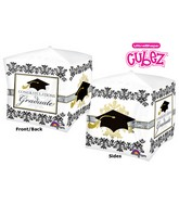 "15"" Cubez Black & White Grad Balloon Packaged"
