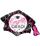 "31"" SuperShape Sparkling Grad Cap Balloon"