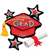"31"" SuperShape Congrats Grad Red Cluster Balloon"