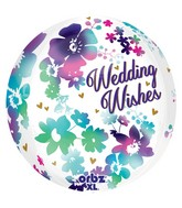 "16"" Orbz Watercolor Wedding Wishes Balloon Packaged"