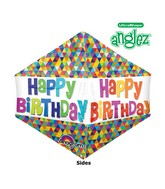 "21"" UltraShape Anglez Happy Birthday Balloon Packaged"