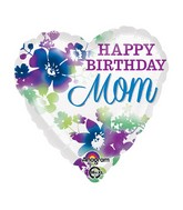 "18"" Happy Birthday Mom Watercolor Balloon"