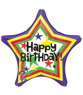 "18"" Bday Star Balloon Packaged"