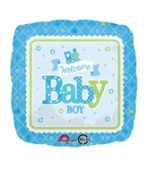 "18"" Welcome Baby Boy Train Balloon Packaged"