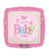 "18"" Welcome Baby Girl Butterfly Balloon Packaged"