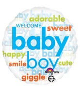 "18"" Baby Boy Word Cloud Balloon Packaged"