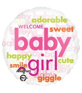 "18"" Baby Girl Word Cloud Balloon Packaged"