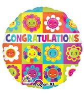 "21"" ColorBlast Congrats Flower Squares Balloon"