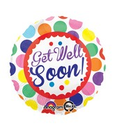 "18"" Get Well Soon Dots Balloon Packaged"
