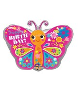 "18"" Junior Shape Happy Birthday Cute Butterfly Balloon"