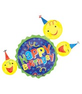 "36"" SuperShape Happy Birthday Smiley Faces Balloon"