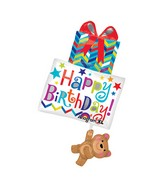 "34"" SuperShape Happy Birthday Bear Holding Gifts Balloon"