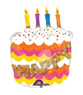 "27"" SuperShape Happy Birthday Fancy Cake Balloon"