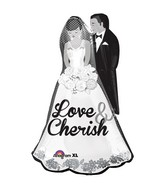 "34"" SuperShape Love and Cherish Couple Balloon"