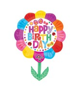 "29"" SuperShape Happy Birthday Flower Balloon"