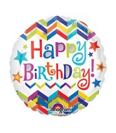 "9"" Airfill Only Happy Birthday Chevron Star Balloon"