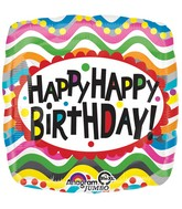 "28"" Jumbo Birthday Squiggles Balloon Packaged"