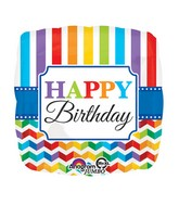 "28"" Jumbo Happy Birthday Bright Stripe & Chevron Balloon"