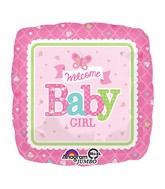 "28"" Jumbo Welcome Baby Girl Butterfly Balloon Packaged"