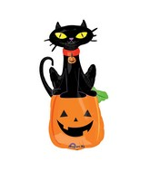 "41"" SuperShape Black Cat on Pumpkin Balloon"