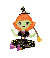 "21"" Airfill Only Sitting Witch Balloon Packaged"