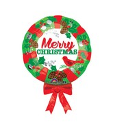 "28"" SuperShape Christmas Wreath Balloon Packaged"