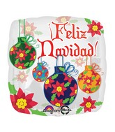 "18"" Feliz Navidad Ornaments Balloon Packaged"