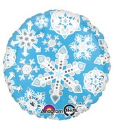 "18"" Blue & White Frosty Snowflakes Balloon"