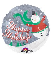 "18"" Holographic Happy Holidays Rolly Snowman Packaged"