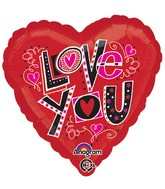 "18"" Love You Fun Type Balloon Packaged"
