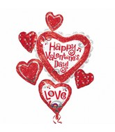 "34"" Happy Valentines Day Red Glitter Balloon"