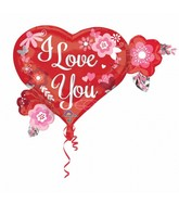 "27"" SuperShape I Love You Heart Flowers Balloon"