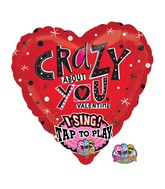 "29"" Singing Crazy About You Balloon Packaged"